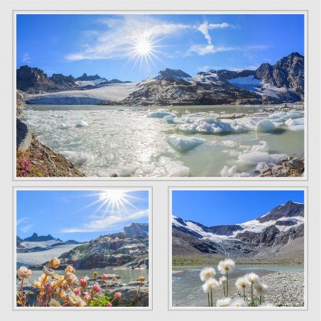 Lac et glacier du Grand Méan et le cirque des Evettes