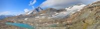Bouquetins devant le lac et le Dôme de l'Arpont